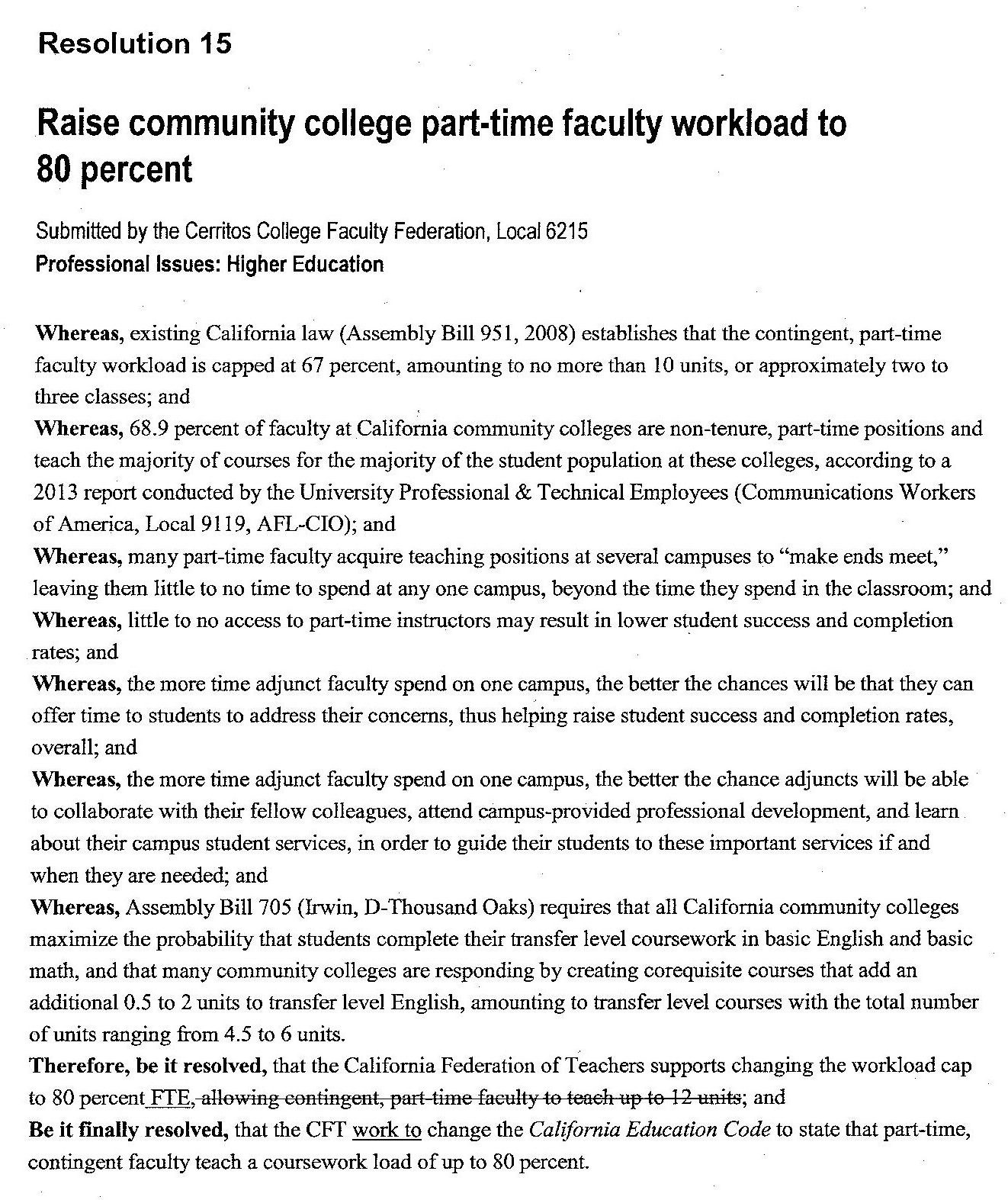 80% Workload for Part-Time Faculty: NEW CFT Resolution